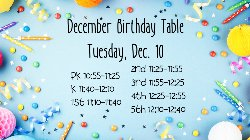 December Birthday Table